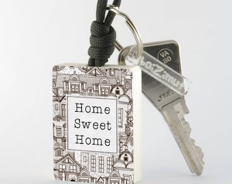 """Home Sweet Home"" black and white key fob"