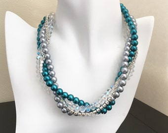 Teal and Grey Necklace Bridesmaid Necklace Multistrand Pearl Necklace Statement Necklace Teal Wedding Grey Necklace Wedding Jewelry