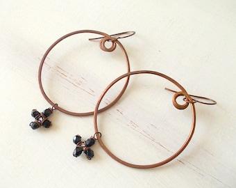 Hoop earrings, copper circle earrings, copper jewelry, antiqued copper earrings, copper earrings for women, copper wire jewelry