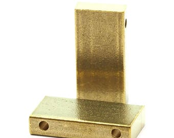 "4 pcs D32 Raw Brass  stamping 10 x 20 x 4 mm 0,39"" x 0.79"" x 0,16"" finding rod industrial design (2 mm  0,08"" 12 gauge hole ) 1724"