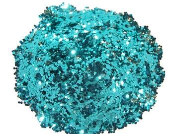 Ocean Spray Glitter, Teal Glitter, Aqua Glitter, SOLVENT RESISTANT, Glitter, 0.062 Hex, Glitter Nail Art, Nail Polish Glitter, Craft Glitter