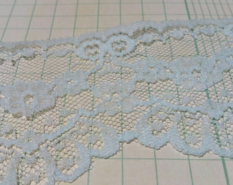 "Vintage Light Blue Lace - Scalloped and Floral Trim - 2 1/4"" Wide"