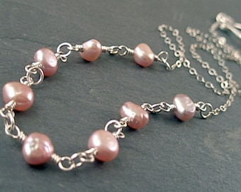 Chloe Necklace - Pearls and Sterling Silver