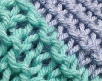 """Lilac & Seafoam Chunky Knitted Blanket >> 70""""long x 60""""wide> To keep you warm on cool days > Winter Blanket >> #Gift"""