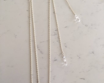Silver Pear Crystal Necklace with Drop Back Chain