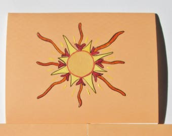 Hand painted orange note cards, sun.