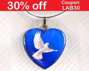 Dove of Peace Pendant, Dove Necklace, Dove Pendant, Dove Jewelry, Dove Charm, Dove Art, Dove Baptism, Peace Dove Necklace, White Dove Crafts