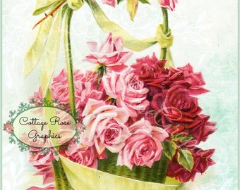 Vintage Mother's Day collage Pink Roses Large digital download BUY 3 get one FREE ecs svfteam
