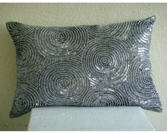 Decorative Oblong / Lumbar Rectangle Pillow Covers Accent Pillow Couch 12x16 Silver Silk Pillows Embroidered with Sequins - Silver Touch