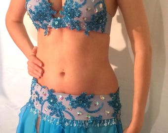 Blue Lace Belly Dance Costume