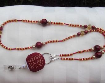 ID Badge Lanyard Florida State Beaded Lanyard Scarlet Red and Gold Seminoles Retractable ID Badge Reel