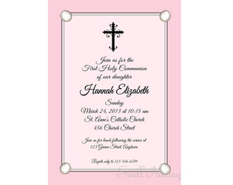 Pink flowers confirmation invitation confirmation pink confirmation invitation confirmation invitation confirmation party invitation stopboris Gallery