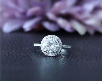 AMAZING,1.5ct C & C Round Forever One Moissanite Ring Solid 14K White Gold Ring Moissanite Wedding Ring Moissanite Engagement Ring