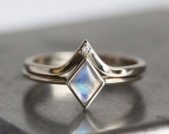 Moonstone Ring, Moonstone Engagement Ring, Moonstone Set, Moonstone Ring Set, Kite Moonstone Ring, Modern Ring Set, Kite Ring, White Gold