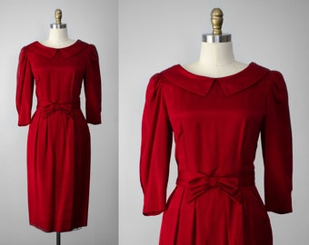 1950s style dress | red wiggle dress | red cocktail dress | vintage Lanz dress | long sleeve red dress | red bow dress | red party dress