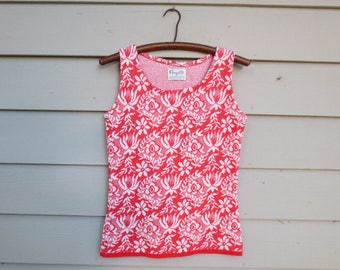 """1970s Red & White Floral Heavy Knit Sleeveless Top, Tank, Shell, Angelli Knitting Mills, Bust 32"""""""
