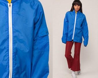 Hooded Windbreaker Jacket Hoodie Jacket 70s Jacket Royal Blue Hood Retro 80s Vintage Thin Lightweight Hipster 1970s Medium