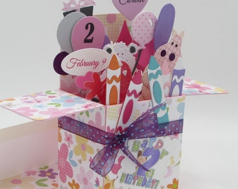 Custom Explosion Box Card - Personalized Handmade - Personalized Birthday Greeting Card - Card In A Box - Pop Up Card - FREE SHIPPING