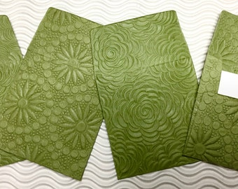 4 teeny tiny envelopes miniature mini note sets square green embossed stationery handmade paper party favor weddings guest book table number