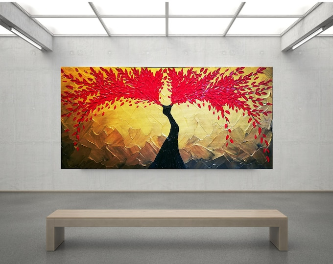 Angel Wings of Fire Impasto Acrylic Painting Palette Knife Brush Metallic Gold Red Large stretched canvas