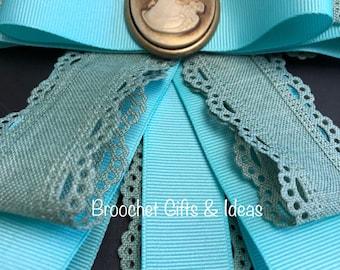 Bow Brooch - Aqua Vintage