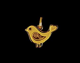SALE Whimsical Bird Charm Pendant 1 pc 16mm Gold Vermeil Nature Charm