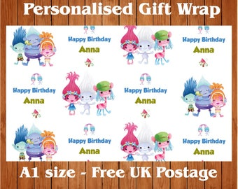 Personalised Trolls inspired Birthday Wrapping Paper & 2 tags