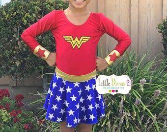 Wonder Women Leotard,Skirt & Headband/Cuffs (Child) Costume Set...Superheros