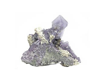 Fluorite Violet Octahedral Crystals with Calcite Pyrite on Rock Matrix Mexican Mineral Specimen
