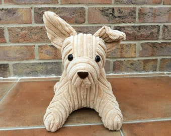 Potter, a dog doorstop in biscuit colour corded fabric, bookend, new home gift