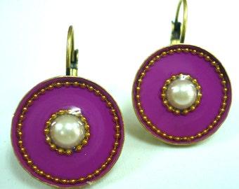 Purple Earrings - Geometric Earrings - Round Earrings - Circle Earrings - Statement Earrings - Unique Jewelry - Casual Jewel