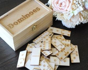 Dominoes Rustic Wedding Games Double Six Dominoes Game Wood Dominoes Guest Book