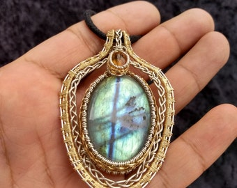 "The ""Magician"" Labradorite and Amber Protection Talisman"