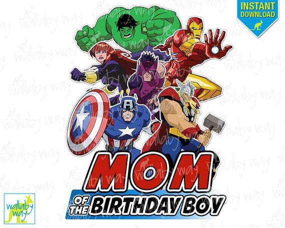 Avengers Birthday Mom Of The Birthday Boy Printable Iron On