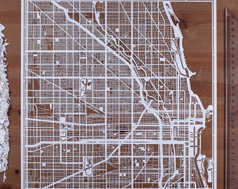 Paper cut map Chicago 12×12 In. Paper Art  IDEAL GIFTS