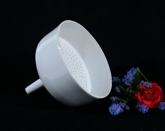 Lab porcelain funnel with strainer / porcelain lab ware, pharmacist, chemist, apothecary also great for jam making