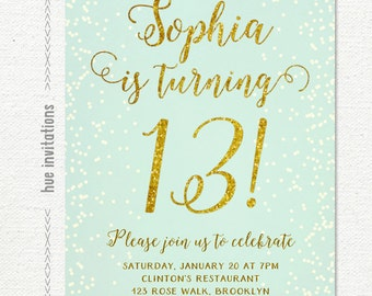 13th birthday invitation for girl pink gold teen birthday birthday party invitations teen girl mint and gold turquoise gold glitter printable 13th birthday party filmwisefo Gallery