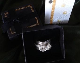 Modern handmade sterling silver spinner ring