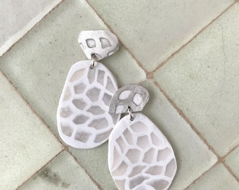 White and Translucent polymer clay  and sterling silver statement earrings