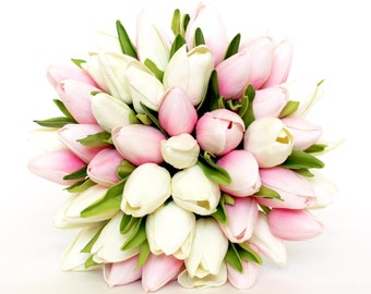 WEDDING BOUQUET- Tulip Pink Wedding Bouquet- Pink And White Tulip Bridal Bouquet- Real To Touch Mini Tulips