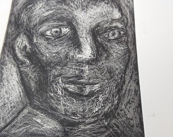 Male Portrait - Aquatint - Print - Handmade - Limited Edition