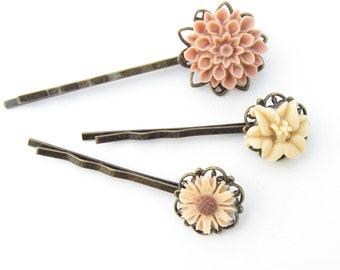 Peach Flower Hairpin, Peach Bobby pin Set, Peach Hairpin Set, Cream BobbyPin Set, Peach Hair pin, Pastel Bobby Pin, Bridal HairPins