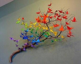 SALES 80 Color cranes purple origami bird blue origami home decor orange birds red baby room decoration origami cranes wedding decoration