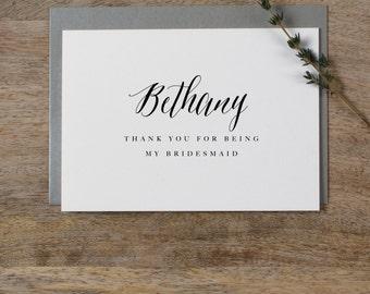 Personalisierte Brautjungfer Karte, benutzerdefinierte Brautjungfer Karte, vielen Dank für meine Brautjungfer, Trauzeugin Karte Hochzeit Wertschätzung K7