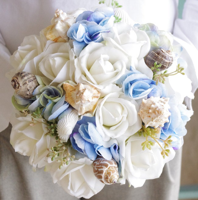 Wedding natural touch beach seashells ivory roses light blue zoom mightylinksfo