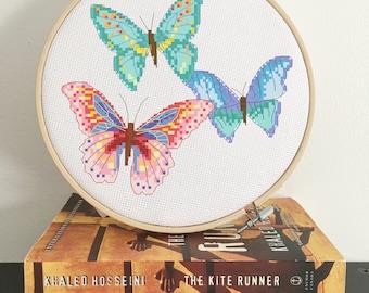 Butterfly Cross Stitch pattern, modern cross stitch pattern, PDF download