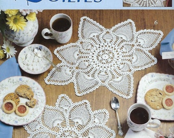 Pineapple Doilies Crochet Pattern Book, Home Decor, Table Toppers, Kitchen Doily Decor, Leisure Arts #2177