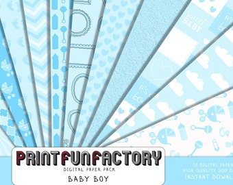 Baby digital paper - Baby boy background paper  - 12 digital papers (#191) INSTANT DOWNLOAD