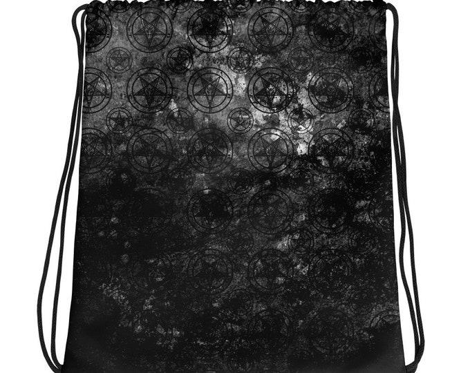 Grey Splatter Baphomet Drawstring Bag