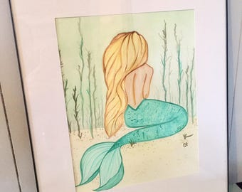 Calm in the Shallows - Mermaid Watercolor Painting Original Painting